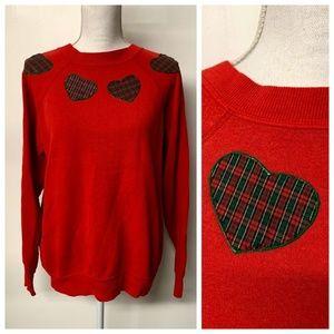 VTG Plaid Heart Applique Ugly Christmas Sweatshirt